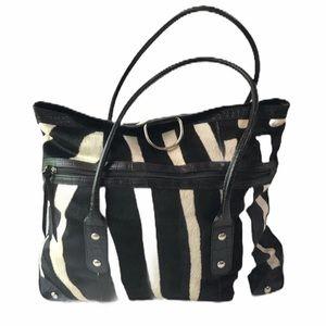 Maurizio Taiuti Zebra Print Leather Tote Bag XL